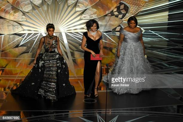 Actors Janelle Monae Taraji P Henson and Octavia Spencer walk onstage during the 89th Annual Academy Awards at Hollywood Highland Center on February...