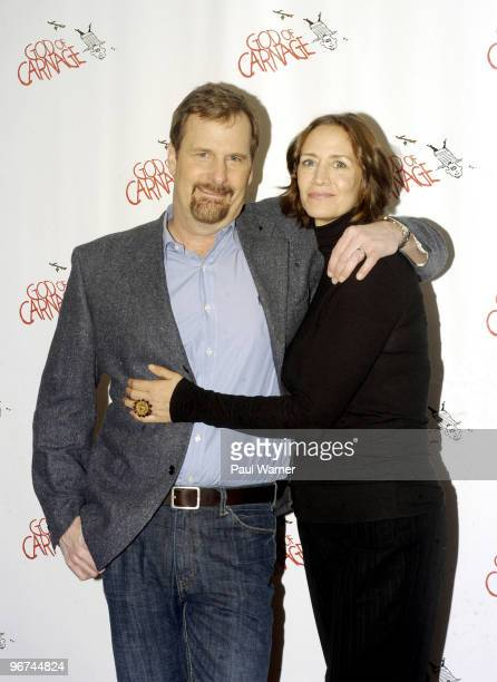 Actors Janet McTeer and Jeff Daniels attend a photo call as part of the new cast of God Of Carnage at Sardi's on February 16 2010 in New York City