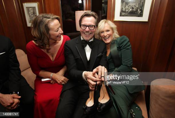 Actors Janet McTeer Gary Oldman and Glenn Close attend the 2012 Vanity Fair Oscar Party Hosted By Graydon Carter at Sunset Tower on February 26 2012...