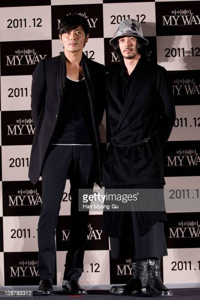 Actors Jang Dong-Gun and Odagiri Joe attend at the press conference of the 'My Way' during the 16th Busan International Film Festival at Shinsegae...