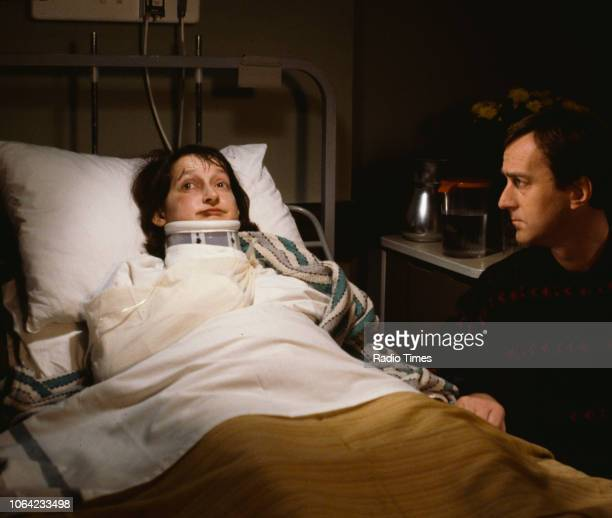 Actors Janine Duvitski and Angus Deayton in a hospital scene from the BBC television sitcom 'One Foot in the Grave' circa 1995