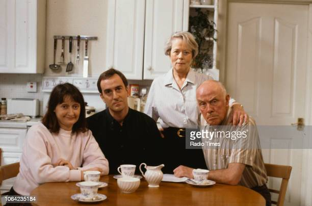 Actors Janine Duvitski Angus Deayton Annette Crosbie and Richard Wilson pictured on the set of episode 'Warm Champagne' of the BBC Television sitcom...