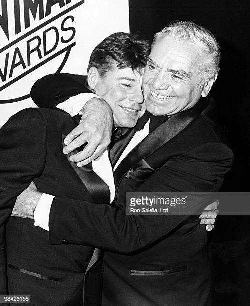 Actors JanMichael Vincent and Ernest Borgnine attend First Annual Stuntman Awards on February 2 1985 at KABC TV Studios in Los Angeles California