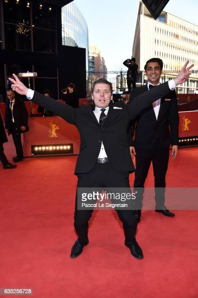 Actors Janne Hyytiainen and Simon Hussein AlBazoon attend the 'The Other Side of Hope' premiere during the 67th Berlinale International Film Festival...