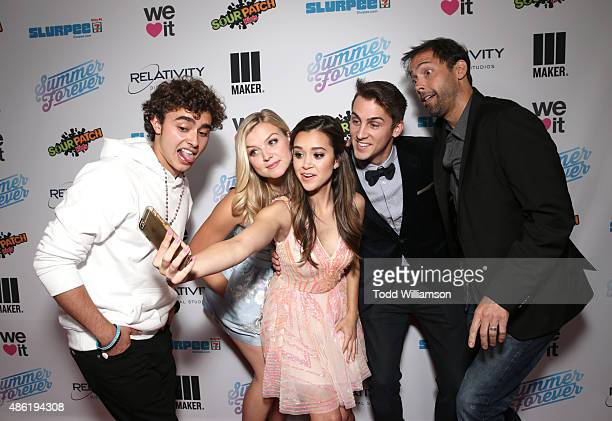 Actors Jansen Panettiere Anna Grace Barlow Megan Nicole Cody Johns and Andrew Bowen take a selfie at the SUMMER FOREVER Premiere on September 1 2015...