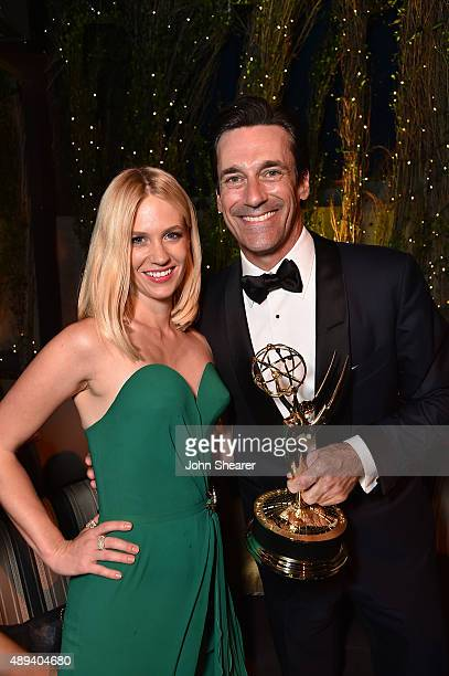 Actors January Jones and Jon Hamm attend the AMC BBC America IFC And SundanceTV Emmy After Party at BOA Steakhouse on September 20 2015 in West...