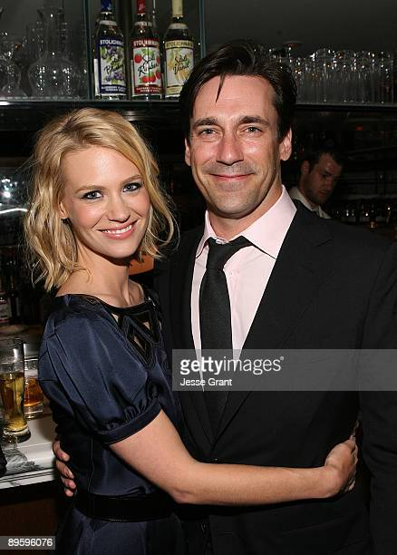 Actors January Jones and Jon Hamm attend the 'Mad Men' Season 3 Premiere After Party on August 3 2009 in West Hollywood California