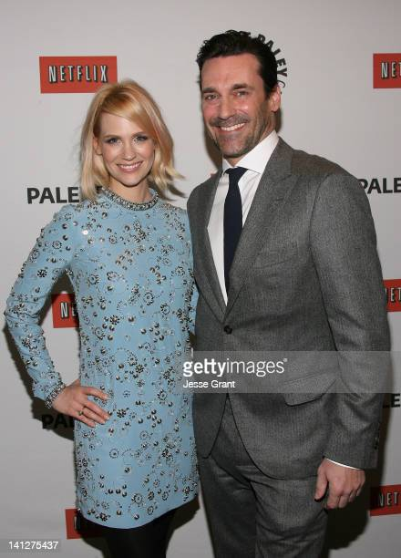 """Actors January Jones and Jon Hamm attend The Paley Center for Media's PaleyFest 2012 Honoring """"Mad Men"""" at Saban Theatre on March 13, 2012 in Beverly..."""