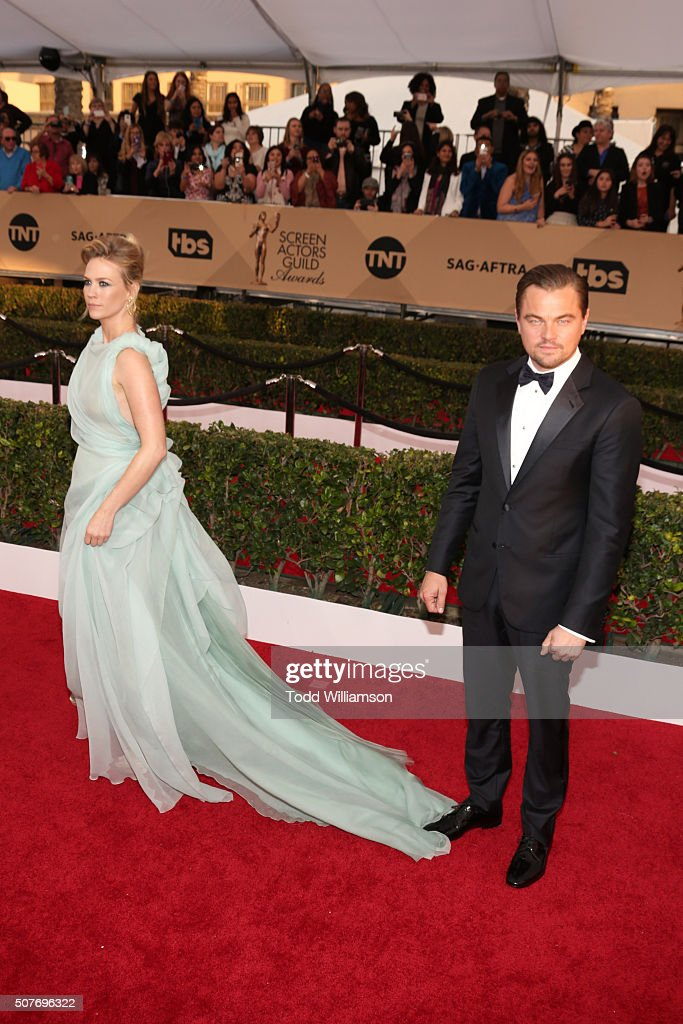 Actors January Jones (L) and Leonardo DiCaprio attend the 22nd Annual Screen Actors Guild Awards at The Shrine Auditorium on January 30, 2016 in Los Angeles, California.