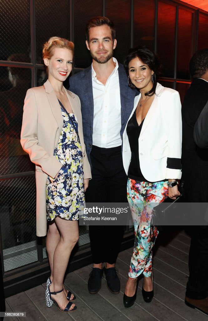 Actors January Jones, Chris Pine, and Emmanuelle Chriqui attend Coach's 3rd Annual Evening of Cocktails and Shopping to Benefit the Children's Defense Fund hosted by Katie McGrath, J.J. Abrams and Bryan Burk at Bad Robot on April 10, 2013 in Santa Monica, California.