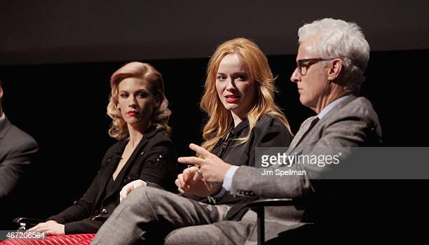 Actors January Jones Christina Hendricks and John Slattery attend the 'Mad Men' special screening at The Film Society of Lincoln Center on March 21...