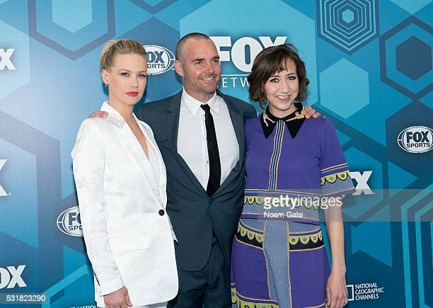 Actors January Jones Will Forte and Kristen Schaal attend the 2016 Fox Upfront at Wollman Rink Central Park on May 16 2016 in New York City