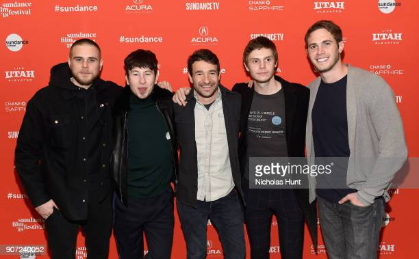 Actors Jared Abrahamson Barry Keoghan Evan Peters and Blake Jenner with Director Bart Layton attend the American Animals Premiere during the 2018...