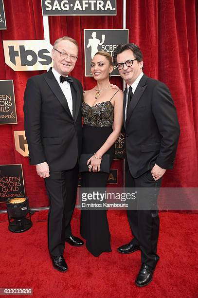 Actors Jared Harris Allegra Riggio and tv personality Ben Mankiewicz attend The 23rd Annual Screen Actors Guild Awards at The Shrine Auditorium on...
