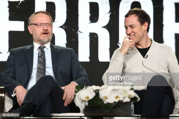 Actors Jared Harris and Adam Nagaitis of the television show The Terror speak onstage during the AMC portion of the 2018 Winter Television Critics...