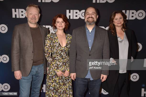 Actors Jared Harris and Jessie Buckley executive producer/writer Craig Mazin and actress Emily Watson are seen onstage prior to the Chernobyl panel...