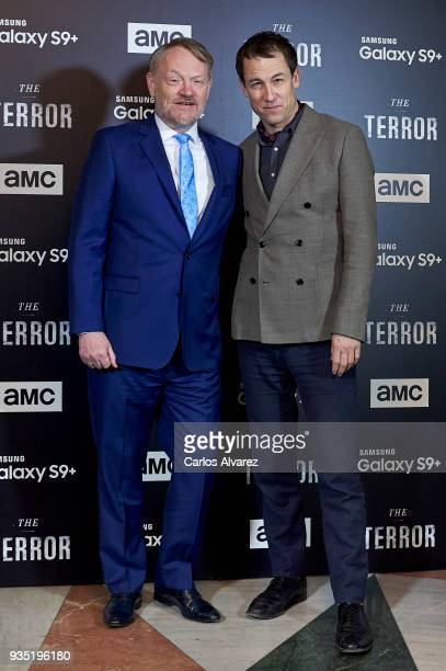 Actors Jared Harris and Tobias Menzies attend 'The Terror' premiere at the Philips Gran Via Theater on March 20 2018 in Madrid Spain