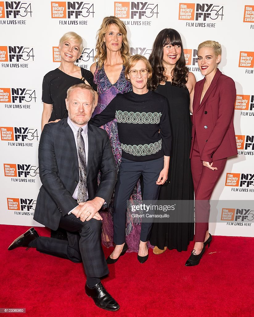 Actors Jared Harris, Michelle Williams, Laura Dern, Lily Gladstone and Kristen Stewart pose with Director Kelly Reichardt (C) attend the 'Certain Women' premiere during the 54th New York Film Festival at Alice Tully Hall, Lincoln Center on October 3, 2016 in New York City.