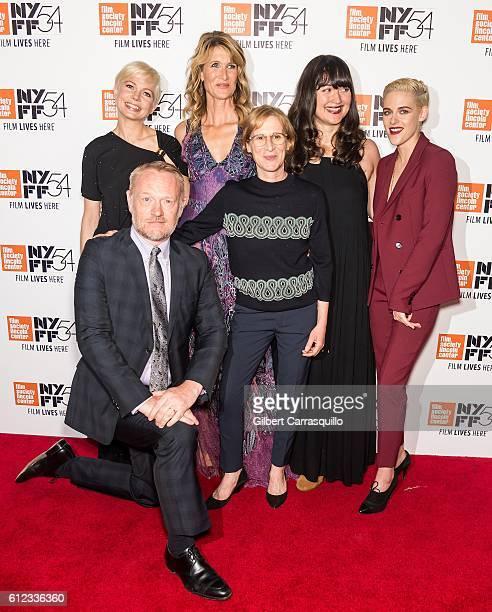 Actors Jared Harris Michelle Williams Laura Dern Lily Gladstone and Kristen Stewart pose with Director Kelly Reichardt attend the 'Certain Women'...