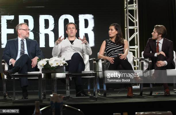 Actors Jared Harris Tobias Menzies Nive Nielsen and Adam Nagaitis of the television show The Terror speak onstage during the AMC portion of the 2018...