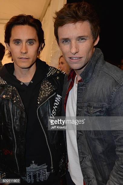 Actors Jared Leto and Eddie Redmayne attend the 2016 MTV Movie Awards at Warner Bros Studios on April 9 2016 in Burbank California MTV Movie Awards...