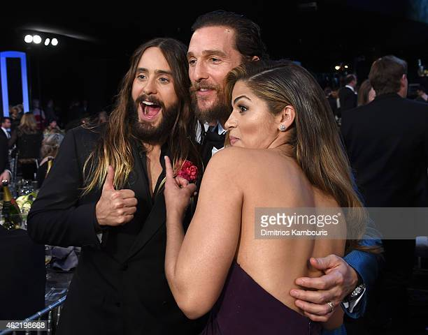 Actors Jared Leto Matthew McConaughey and model Camila Alves backstage at TNT's 21st Annual Screen Actors Guild Awards at The Shrine Auditorium on...