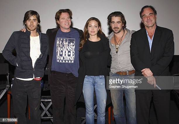 Actors Jared Leto Val Kilmer Angelina Jolie Colin Farrell and Director Oliver Stone pose after the Q A which followed the Variety Screening Series...