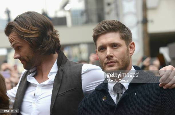 Actors Jared Padalecki and Jensen Ackles attend The Paley Center For Media's 35th Annual PaleyFest Los Angeles Supernatural held at Dolby Theatre on...