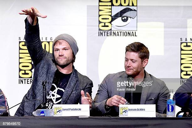 Actors Jared Padalecki and Jensen Ackles attend the 'Supernatural' Special Video Presentation And QA during ComicCon International 2016 at San Diego...