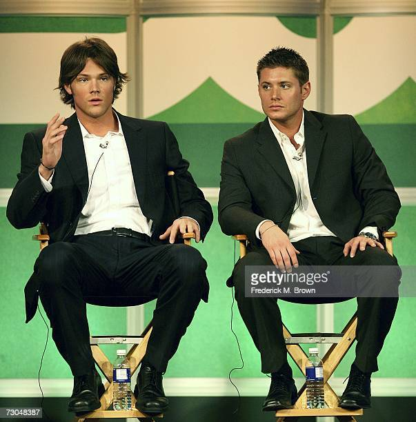 Actors Jared Padalecki and Jensen Ackles of Supernatural speak during the 2007 Winter Television Critics Association Press Tour for The CW at the...
