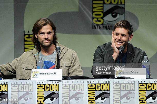 Actors Jared Padalecki and Jensen Ackles speak onstage at the Supernatural special video presentation during ComicCon International 2013 at San Diego...