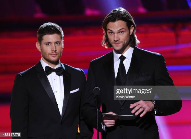 Actors Jared Padalecki and Jensen Ackles speak onstage during the 19th Annual Critics' Choice Movie Awards at Barker Hangar on January 16 2014 in...