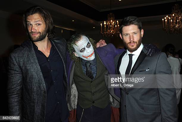 Actors Jared Padalecki cosplayer Jesse Oliva as The Joker and Jensen Ackles of 'Supernatural' at the 42nd Annual Saturn Awards Show held at The...