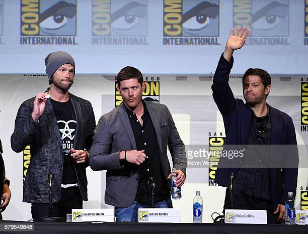 Actors Jared Padalecki Jensen Ackles and Misha Collins attend the Supernatural Special Video Presentation And QA during ComicCon International 2016...