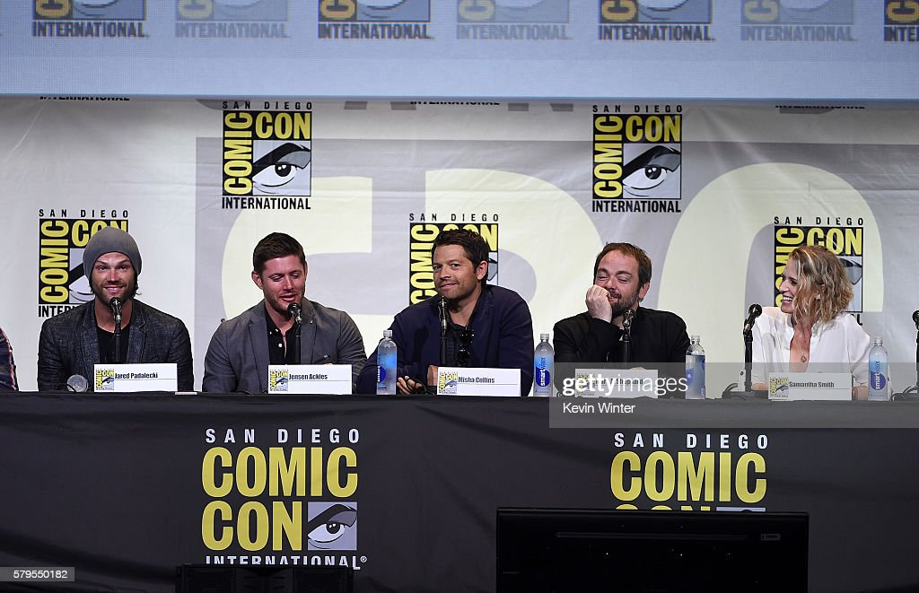 Actors Jared Padalecki, Jensen Ackles, Misha Collins, Mark Sheppard, and Samantha Smith attend the 'Supernatural' Special Video Presentation And Q&A during Comic-Con International 2016 at San Diego Convention Center on July 24, 2016 in San Diego, California.