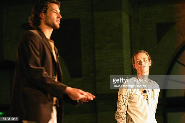 Actors Jarl Benzon and Sandro Kopp address the audience at The Fellowship Festival 2004 aimed at J R R Tolkien fans at Alexandra Palace on August 28...