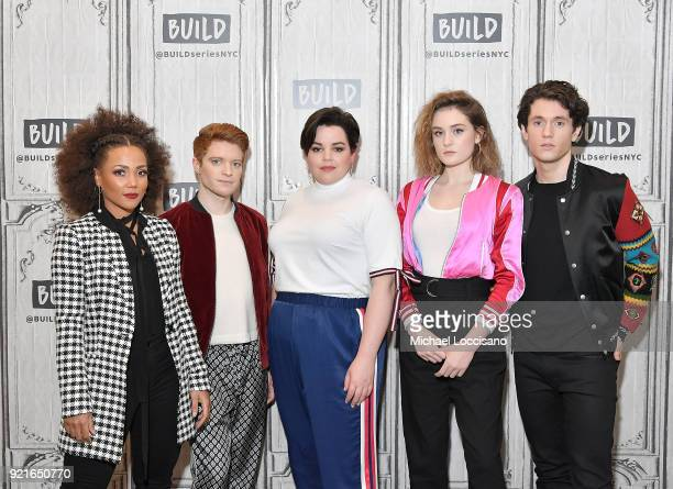 Actors Jasmine Mathews Brendan Scannell Melanie Field Grace Victoria Cox and James Scully visit Build Studio to discuss the TV series 'Heathers' at...