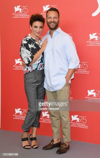 Actors Jasmine Trinca and Alessandro Borghi attend 'Sulla Mia Pelle ' photocall during the 75th Venice Film Festival at Sala Casino on August 29 2018...
