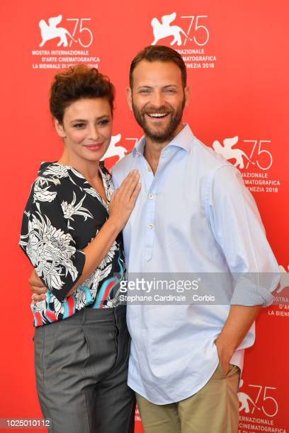 Actors Jasmine Trinca and Alessandro Borghi attend 'Sulla Mia Pelle ' photocall during the 75th Venice Film Festival at Sala Casino on August 29,...