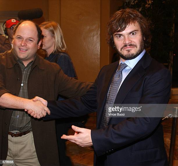 """Actors Jason Alexander and Jack Black attend the premiere of the film """"Shallow Hal"""" November 1, 2001 in Los Angeles, CA."""