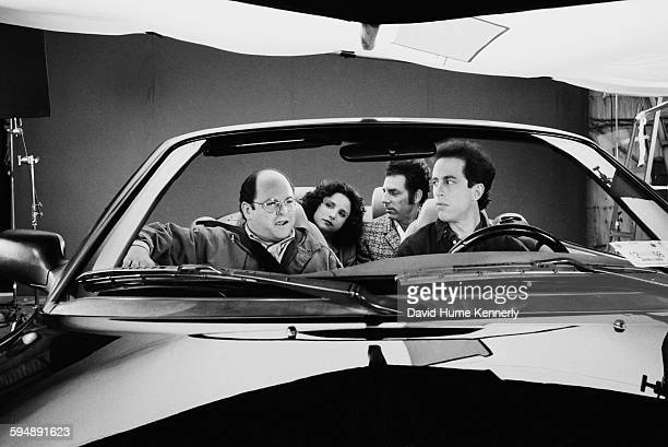 """Actors Jason Alexander, Julia Louis-Dreyfus, Michael Richards, and Jerry Seinfeld on set in the final days of shooting the hit tv show """"Seinfeld"""",..."""