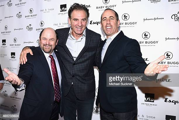 Actors Jason Alexander Michael Richards and host Jerry Seinfeld attend the Inaugural Los Angeles Fatherhood Lunch to Benefit Baby Buggy hosted by...