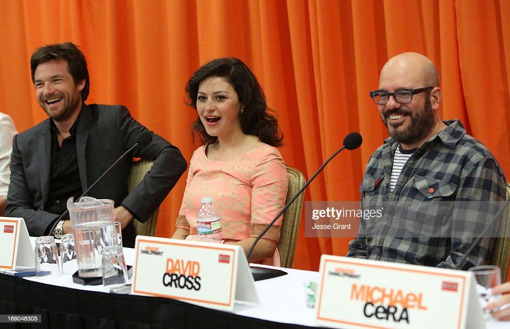 Actors Jason Bateman, Alia Shawkat and David Cross attend The Netflix Original Series 'Arrested Development' Press Conference at Sheraton Universal on May 4, 2013 in Universal City, California.