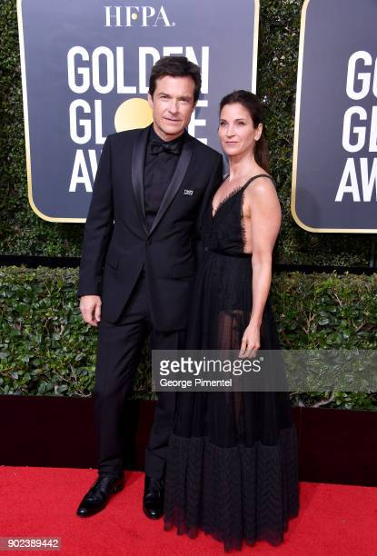 Actors Jason Bateman and Amanda Anka attend The 75th Annual Golden Globe Awards at The Beverly Hilton Hotel on January 7 2018 in Beverly Hills...