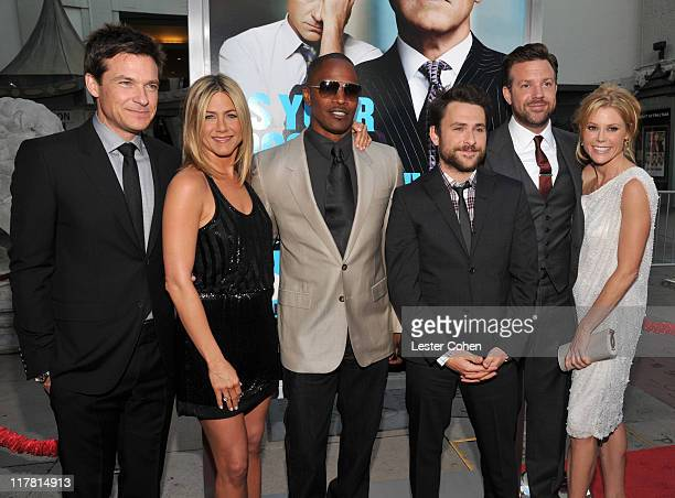 Actors Jason Bateman Jennifer Aniston Jamie Foxx Charlie Day Jason Sudeikis and Julie Bowen arrive at the Horrible Bosses Los Angeles premiere at...