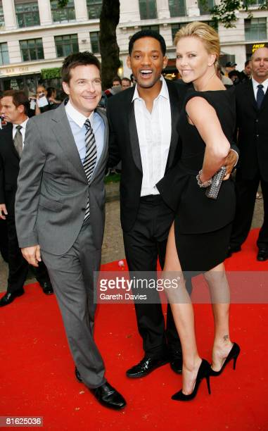 Actors Jason Bateman Will Smith and Charlize Theron arrive at the premiere of 'Hancock' at Leicester Square Vue Cinema June 18 2008 in London England