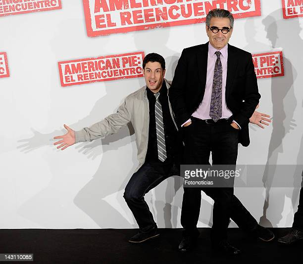 Actors Jason Biggs and Eugene Levy attend a photocall for 'American Pie: Reunion' at the Villamagna Hotel on April 19, 2012 in Madrid, Spain.