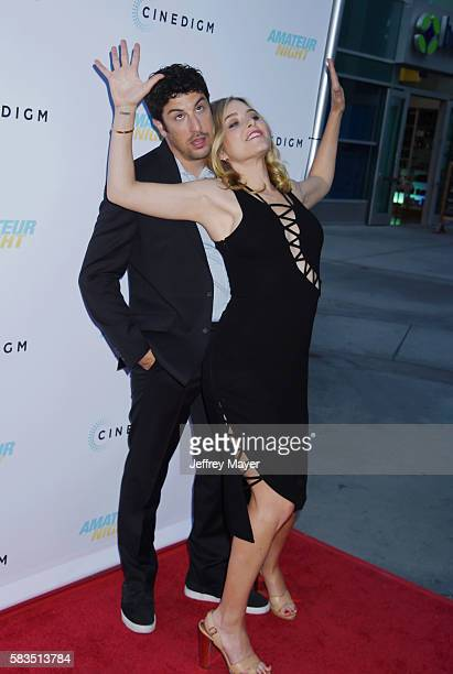 Actors Jason Biggs and Jenny Mollen attend the premiere of Cinedigm's 'Amateur Night' at ArcLight Cinemas on July 25 2016 in Hollywood California