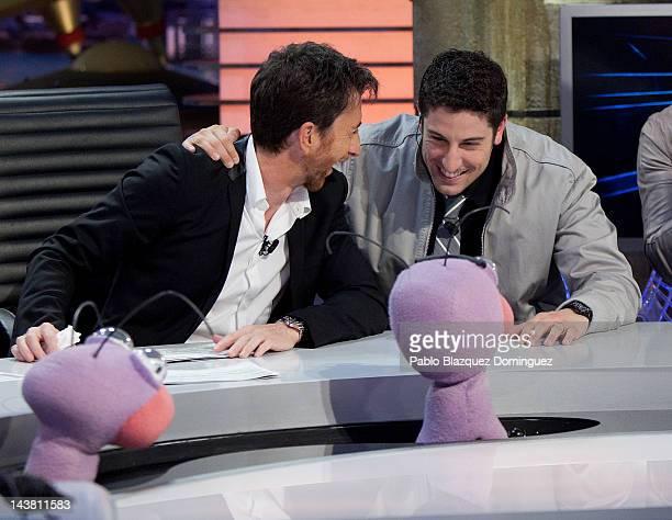 Actors Jason Biggs and Pablo Motos attend 'El Hormiguero' Tv Show at Vertice Studios on May 3 2012 in Madrid Spain