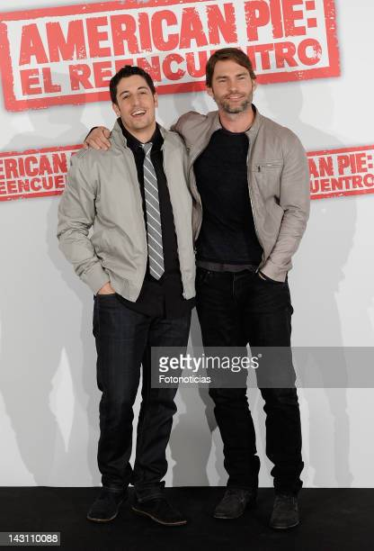 Actors Jason Biggs and Sean William Scott attend a photocall for 'American Pie: Reunion' at the Villamagna Hotel on April 19, 2012 in Madrid, Spain.